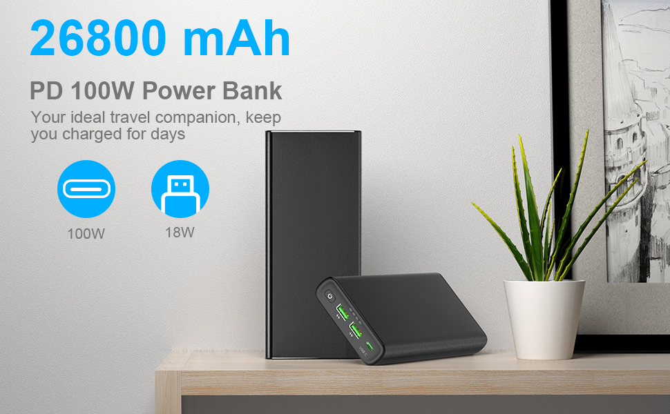 New arrival 100W laptop power bank | 26800mAh USB Type-C PD power bank for cell phone YN-045P