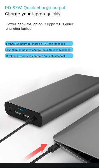 87W PD power bank for laptops