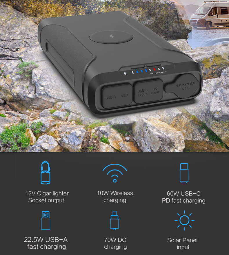 High capaicty outdoor portable power station for laptop charging power bank