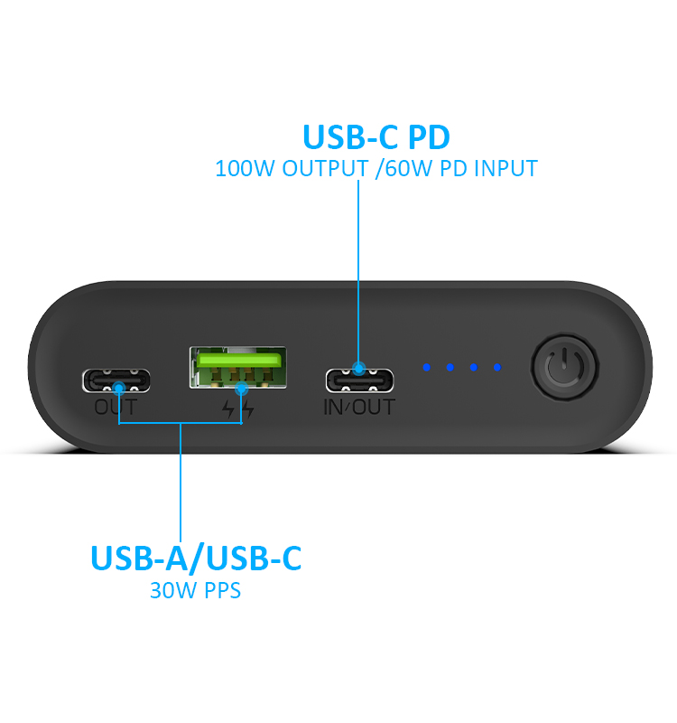 26800mAh Dual USB C 100W PD Fast Charging Power Bank For Laptop